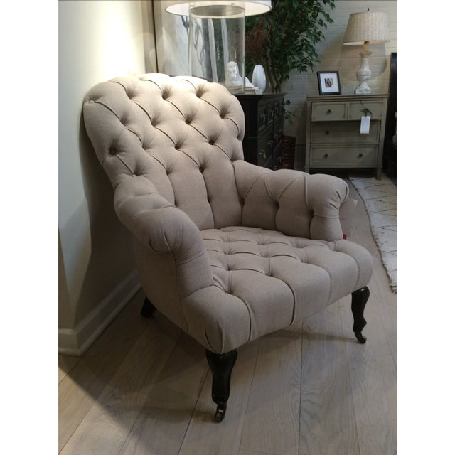 Natural Linen Najac Tufted Armchair - Image 2 of 5