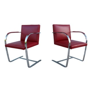 Mies Van Der Rohe for Knoll Vintage Red Leather Bar Chairs - a Pair For Sale