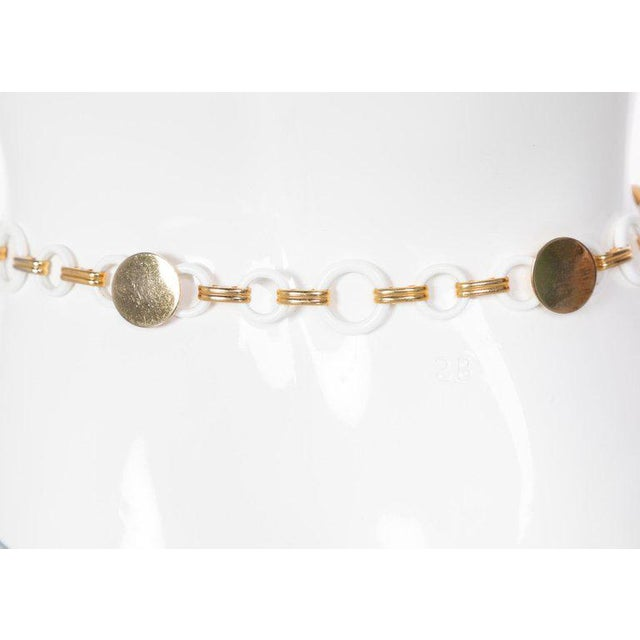 1970s Yves Saint Laurent White Lucite Gold Rings Necklace Belt Ysl, 1970s For Sale - Image 5 of 7