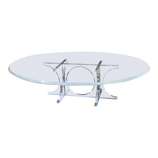 Monumental Mid-Century Modern Oval Lucite Cocktail Table / Coffee Table.