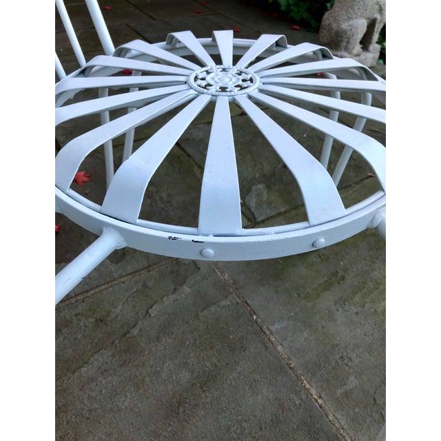 Art Deco 1930s Vintage Francois Carre White Sunburst Iron Garden Chair For Sale - Image 3 of 12