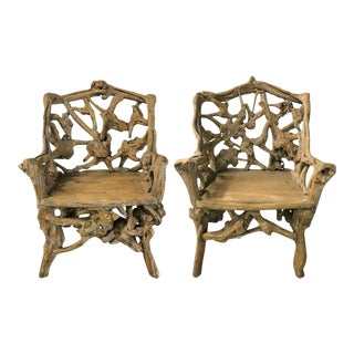Vintage Heavy Laurel Wood Armchairs - a Pair For Sale