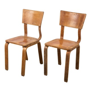 Original United Nations Mid Century Thonet Solid Bentwood Side Chairs For Sale
