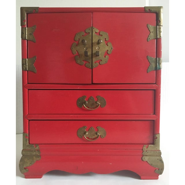 Vintage Red Lacquer Tansu Chest Jewelry Box - Image 2 of 11