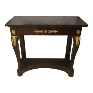 Empire Style Marble Top Console Table For Sale