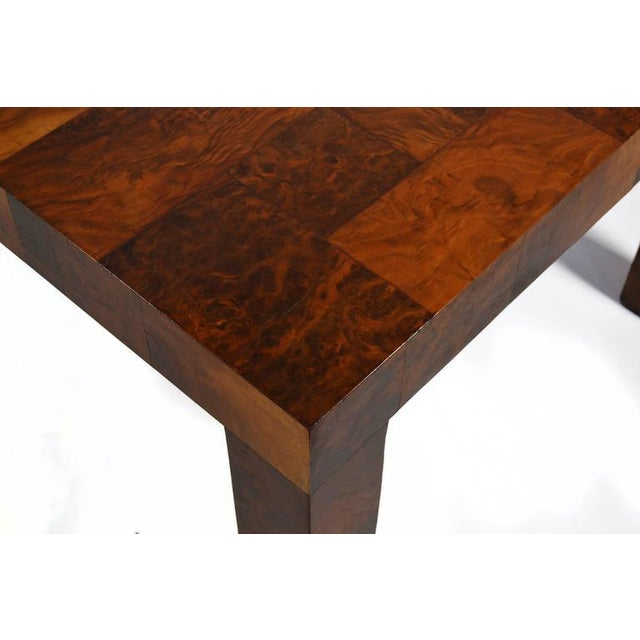 Walnut Paul Evans Parsons Table in Burl Patchwork For Sale - Image 7 of 9