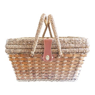 Vintage Seagrass Picnic Basket For Sale