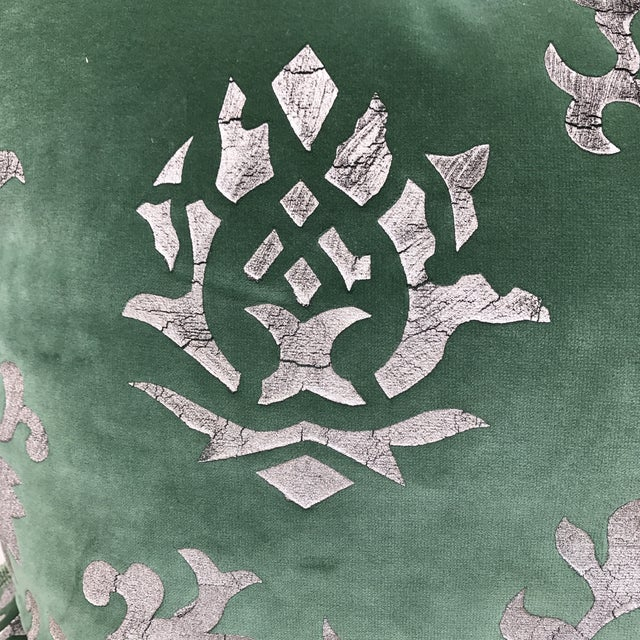 Silver Stenciled Green Velvet Pillows - A Pair - Image 4 of 7