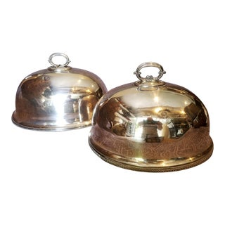 Silver Christmas Serving Domes - a Pair For Sale