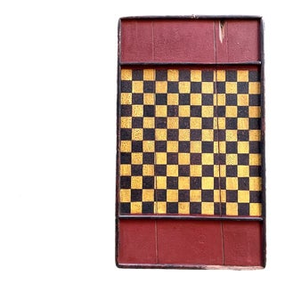 Antique Primitive Wooden Game Board in Old Crazed Mustard Black and Barn Red Paint Lancaster County Pennsylvania Affa Folk Art Outsider Art Wall Decor For Sale