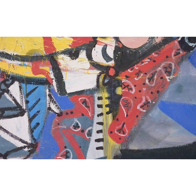 """Lester Goldman Painting, """"Lil Construct with One Tear"""" Oil on Canvas, 1987 - Image 2 of 7"""