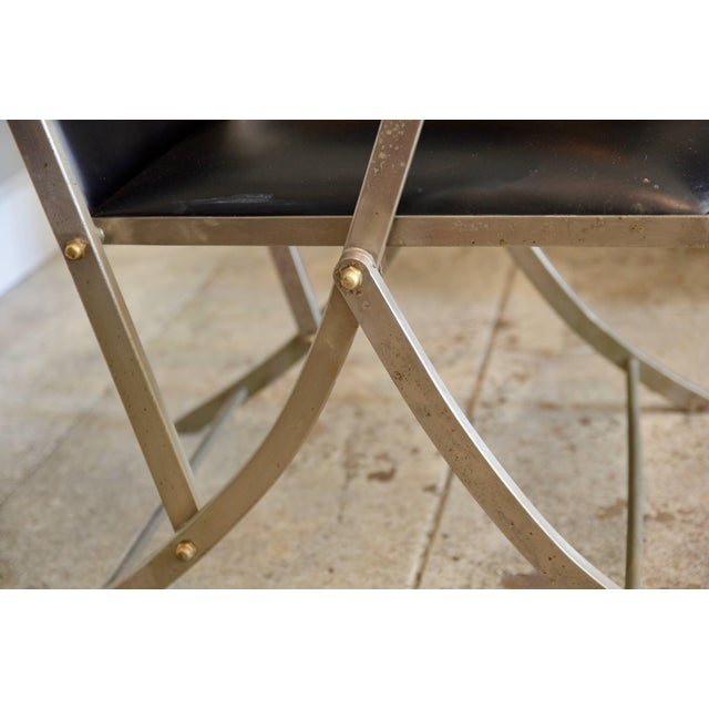 Metal Pair of Chic Folding Campaign Armchairs in the Style of Maison Jansen For Sale - Image 7 of 8