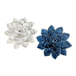 Handmade Ceramic Lotus Flower Wall or Table Art - Set of 2 For Sale