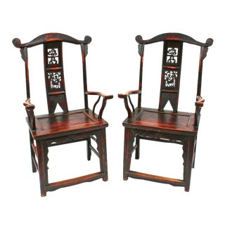 Late 19th Century Lacquered Arm Chairs - a Pair For Sale
