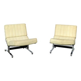 20th Century Italian Yellow Tufted Chrome Lounge Chairs - a Pair For Sale
