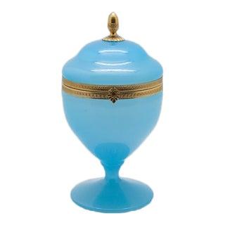 Vintage Blue Opaline and Brass Pedestal Box For Sale