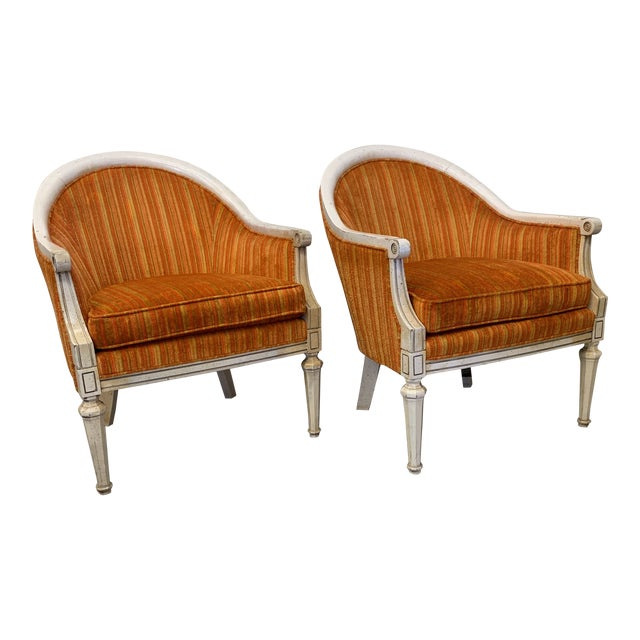 Vintage French Style Barrel Back Chairs- a Pair For Sale