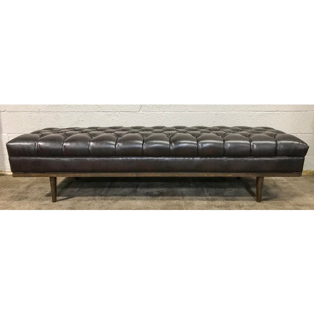 Mid Century Modern Chesterfield Tufted Walnut Bench - Image 3 of 6