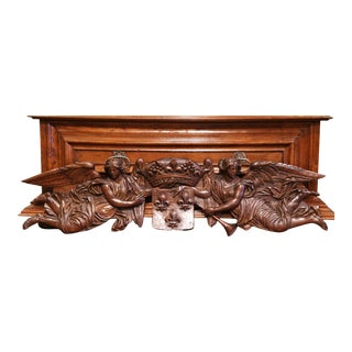 Mid-18th Century Carved Oak Wall Sculpture With Kingdom of France Coat of Arms For Sale