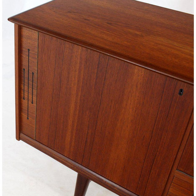 Danish Teak Long Sideboard Credenza With Art Deco Style Etched Glass Insert For Sale - Image 9 of 11