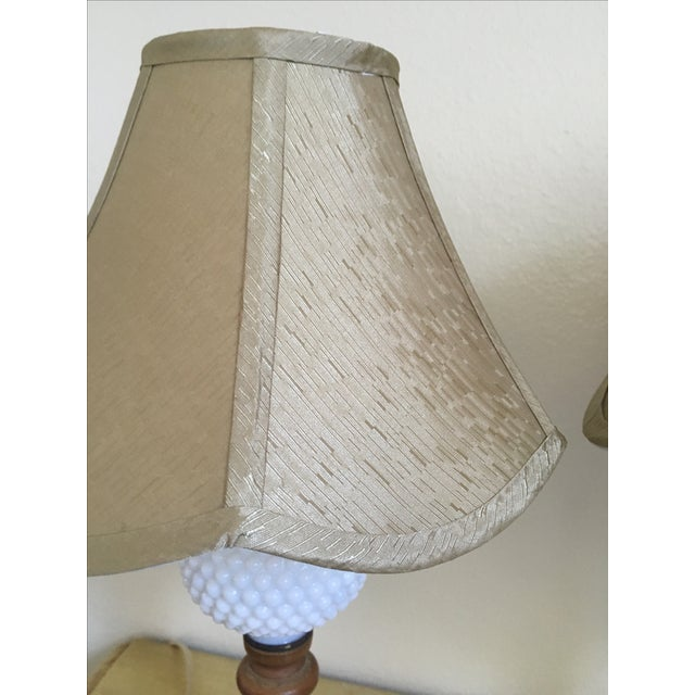 Mid-Century Wood & Hobnail Milk Glass Lamps - Pair For Sale - Image 5 of 10