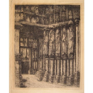 Architectural Interior by W. Strang, Etching For Sale