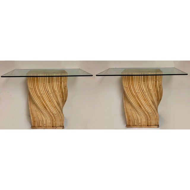 Tan Pair of Pencil Bamboo Modern Console Tables Att. To Crespi For Sale - Image 8 of 10