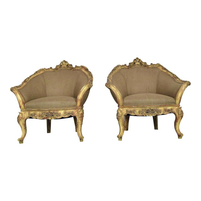 Vintage French Louis XV Style Carved Bergeres - a Pair - Image 1 of 11