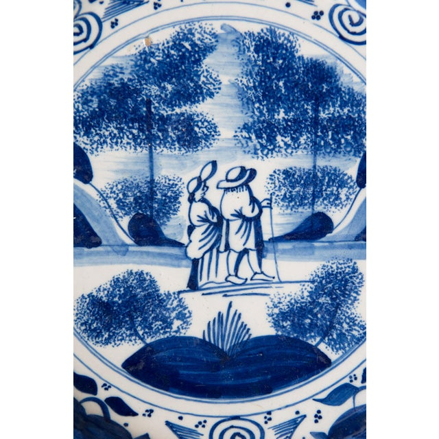 Delft Antique 18th-Century Dutch Delft Plate With Figures For Sale - Image 4 of 6