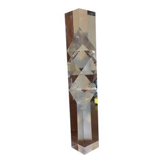 1970s Vintage Alessio Tasca Prismatic Lucite Column Sculpture For Sale