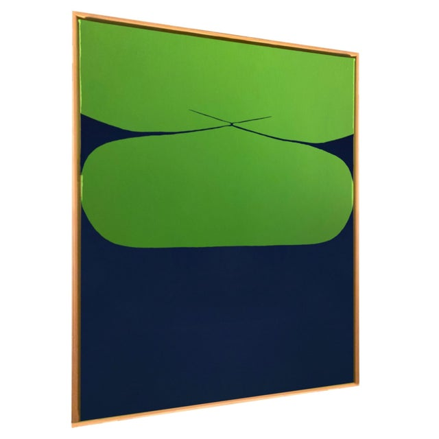 """Blue and Green Abstract Graphic Painting Title: """"Tied"""" Media: Acrylic Paint, Acrylic Gouache on Stretched Canvas..."""