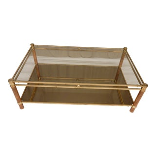 Mid-Century Glass, Mirror, Brass and Wood Coffee Table For Sale