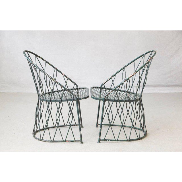 Fabric Set of Four Salterinini Round Wrought Iron Barrel Back Patio or Garden Chairs For Sale - Image 7 of 9