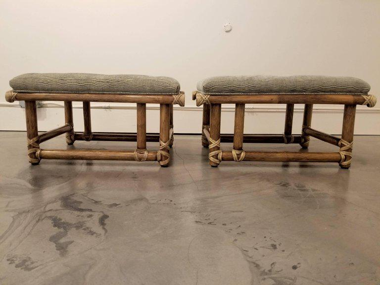 McGuire Furniture Bamboo Ottomans Or Stools   Image 3 Of 11