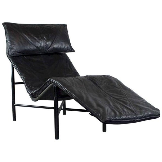 Tord Bjorklund Chaise Lounge in Black Leather For Sale - Image 10 of 13