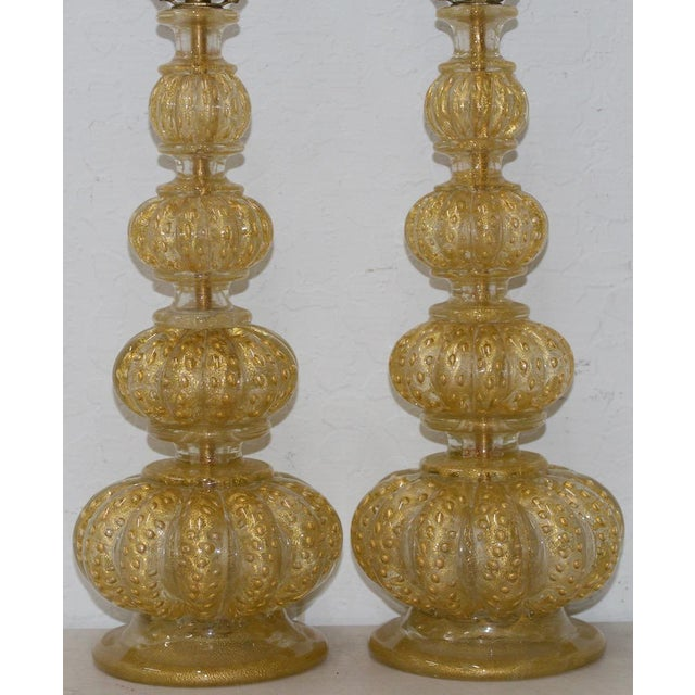 Mid 20th Century Pair of Barovier & Toso Venetian Glass Mid-Century Modern Table Lamps C.1950 For Sale - Image 5 of 8
