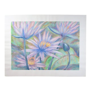 Large Tropical Flowers Color Pastel Drawing #1 by Patricia McGeeney For Sale