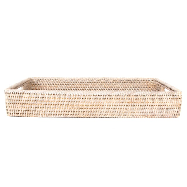 2010s Artifacts Rattan Rectangular Tray with Rounded Corners For Sale - Image 5 of 5
