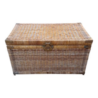 Vintage Chinoiserie Rattan & Brass Chest For Sale