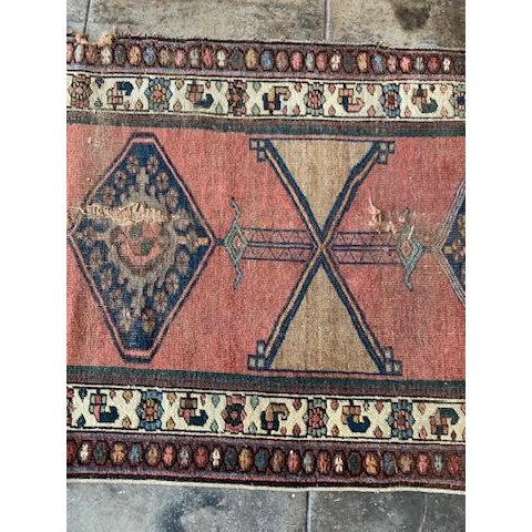 """Late 20th Century Geometric Antique Turkish Runner - 12' 4"""" X 3' 8.5"""" For Sale - Image 5 of 10"""