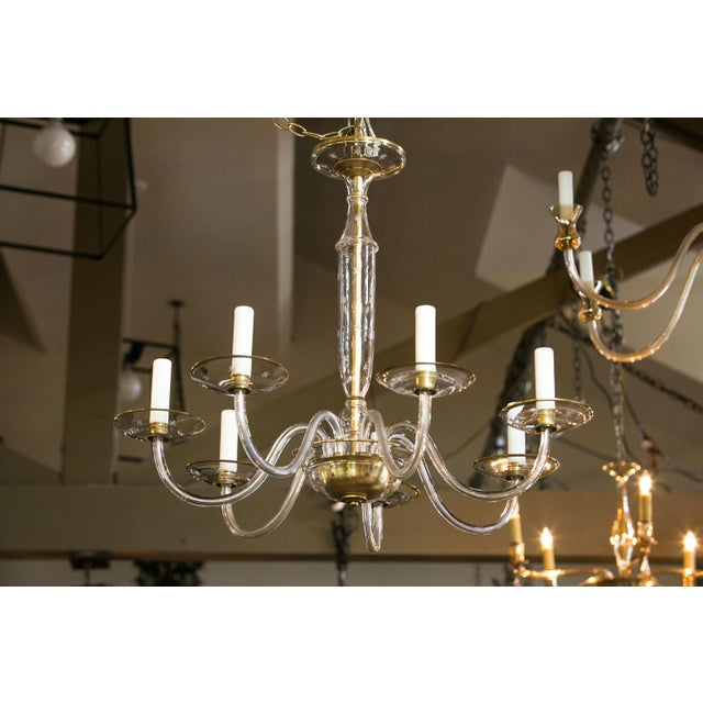 Murano Italian Clear Glass Chandelier For Sale - Image 4 of 8
