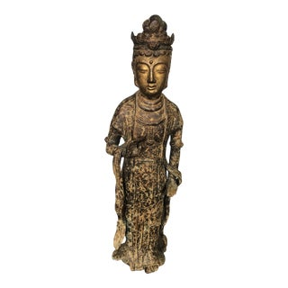 Guanyin Figure in Gilt Iron For Sale