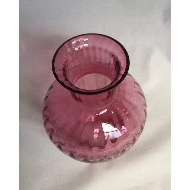 Vintage 1960s Pilgrim Glass Co. Cranberry Ribbed Glass Vase - Image 2 of 7