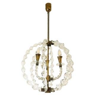 Seguso Attributed Murano Glass Pendant For Sale