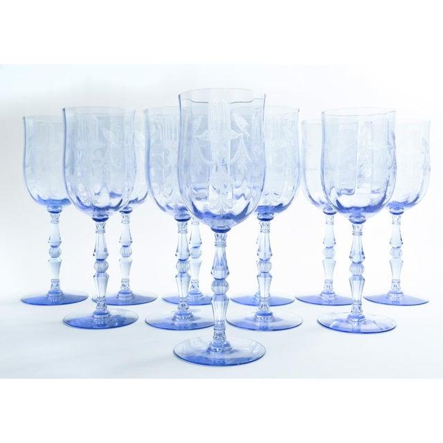 Vintage Etched Crystal Wine / Water Glassware Set For Sale - Image 13 of 13