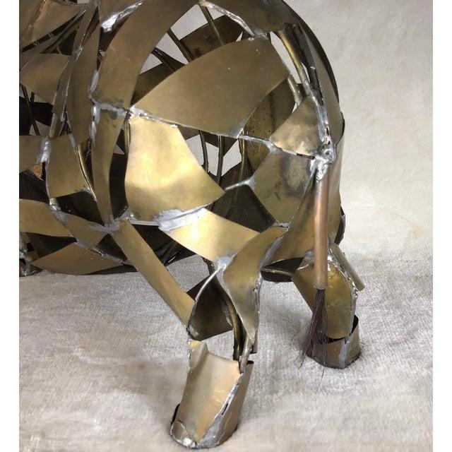 Vintage Mid-Century Brutalist Brass Copper Rhino Freestanding Sculpture For Sale - Image 6 of 11