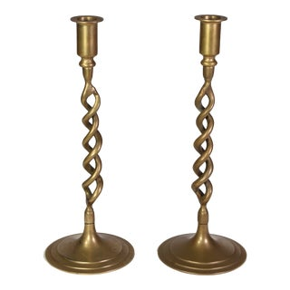 "Early 20th Century Brass ""Barley Twist"" Spiral Taper Candle Holders - a Pair For Sale"