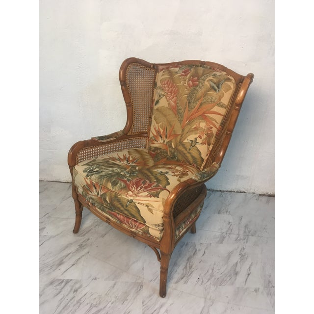 Wood Vintage Cane Wingback For Sale - Image 7 of 9
