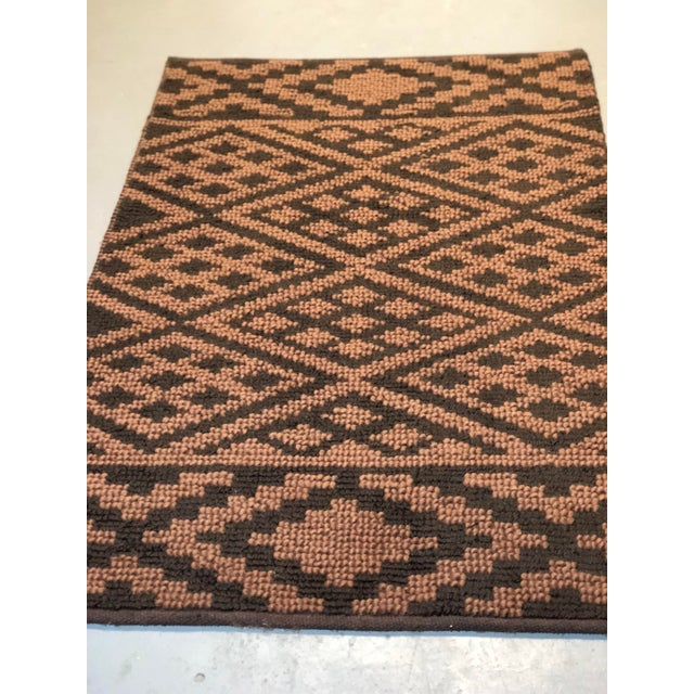 Heavy Knit Brown and Tan Geometric Rug For Sale - Image 11 of 13
