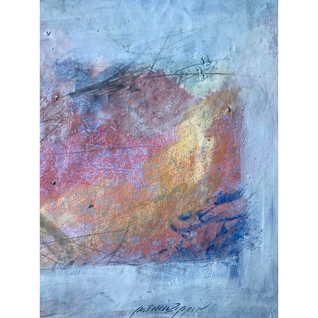 """Patricia Zippin Pink Purple Fade 1980s Mixed Media 20""""x 14.5"""", unframed Signed bottom right Excellent Condition- Minor..."""